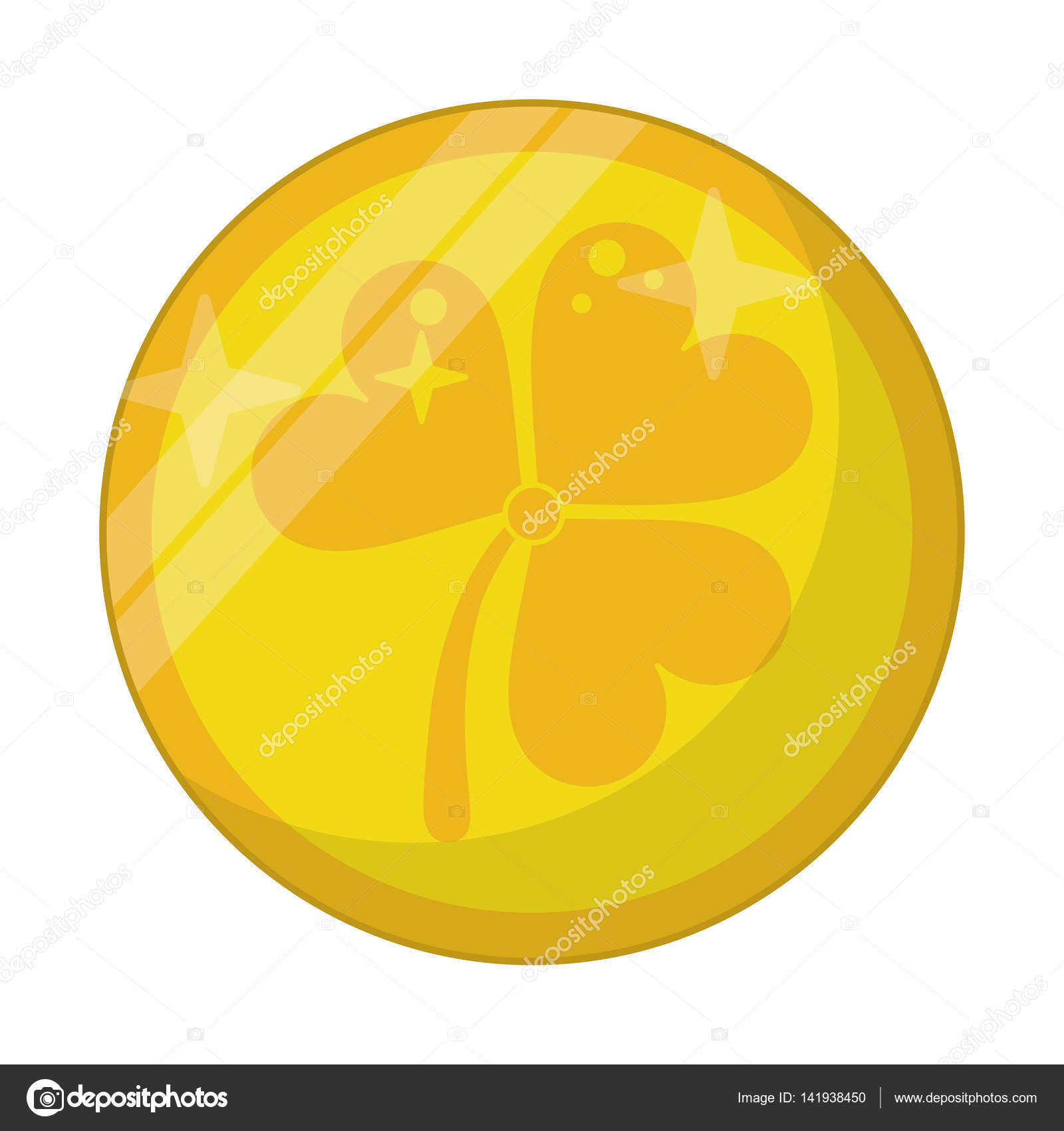 St Patricks Day Gold Coin Clover Stock Vector