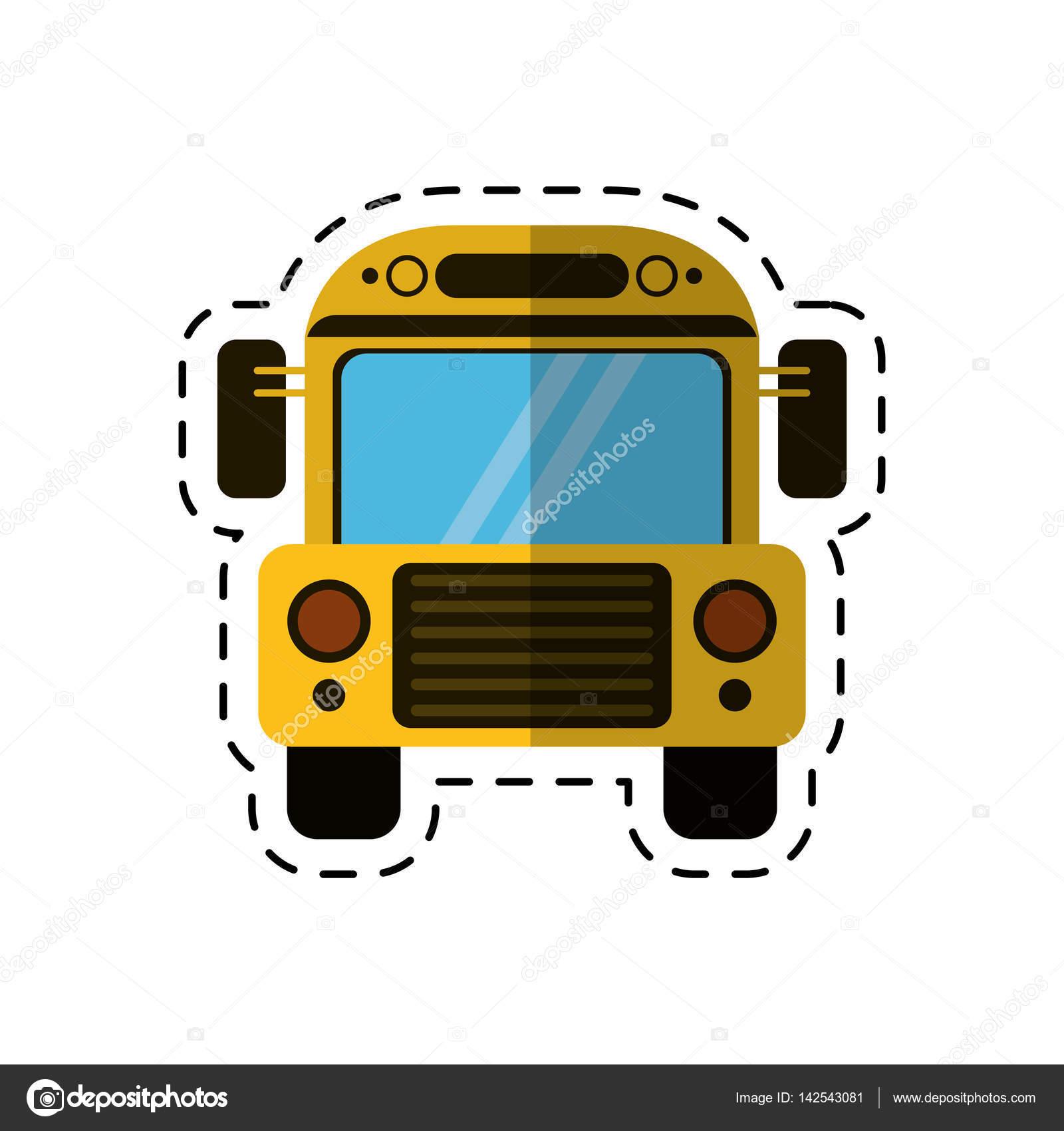 Dessin Animé Autobus Scolaire Transport Design Image