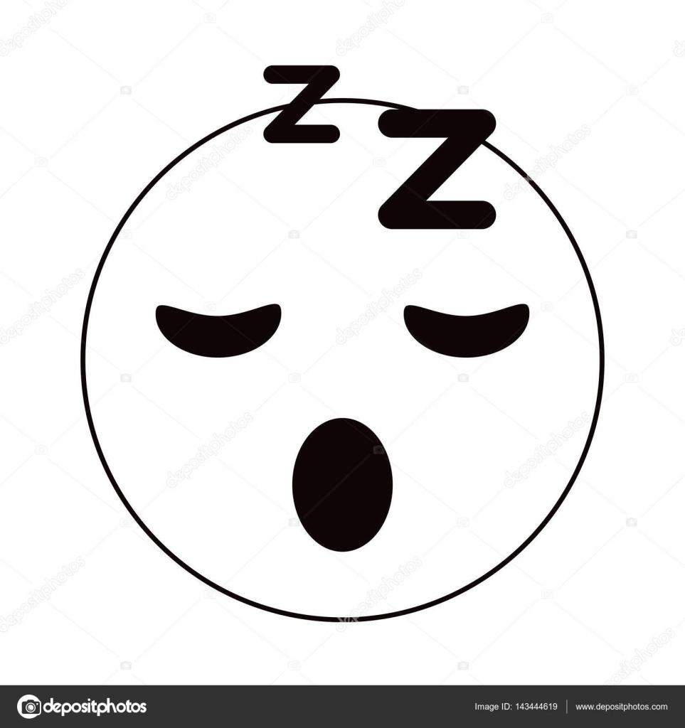 Sleepy Emoticon Funny Thin Line Stock Vector Jemastock 143444619