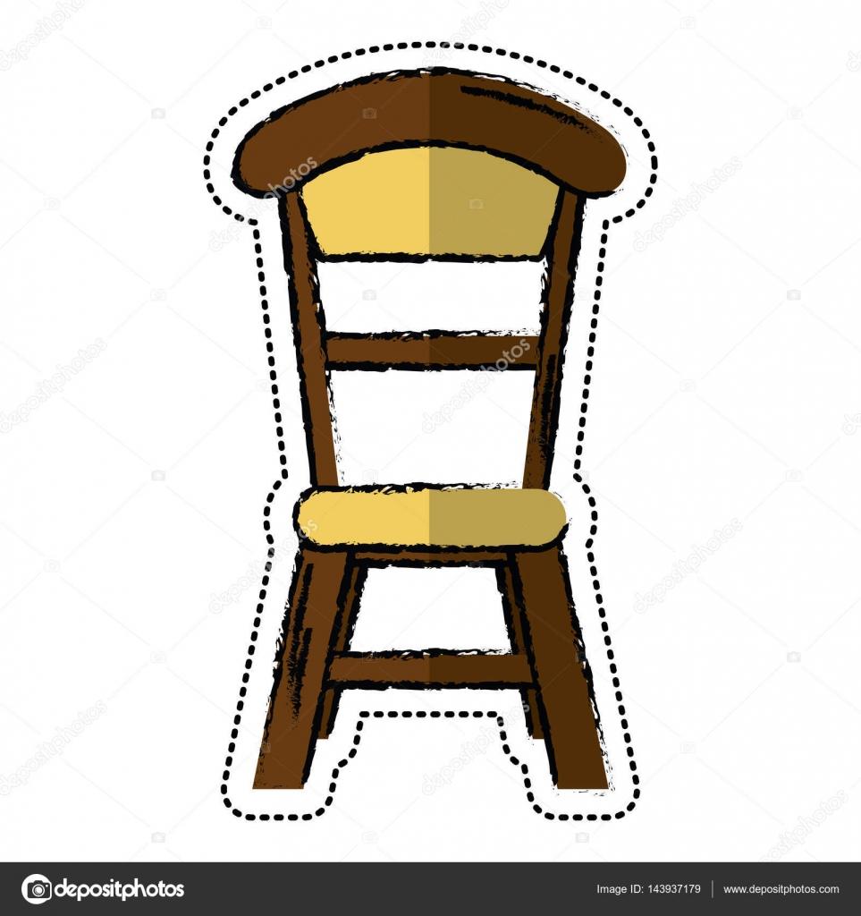 Cartoon wooden chair vintage design — stock vector