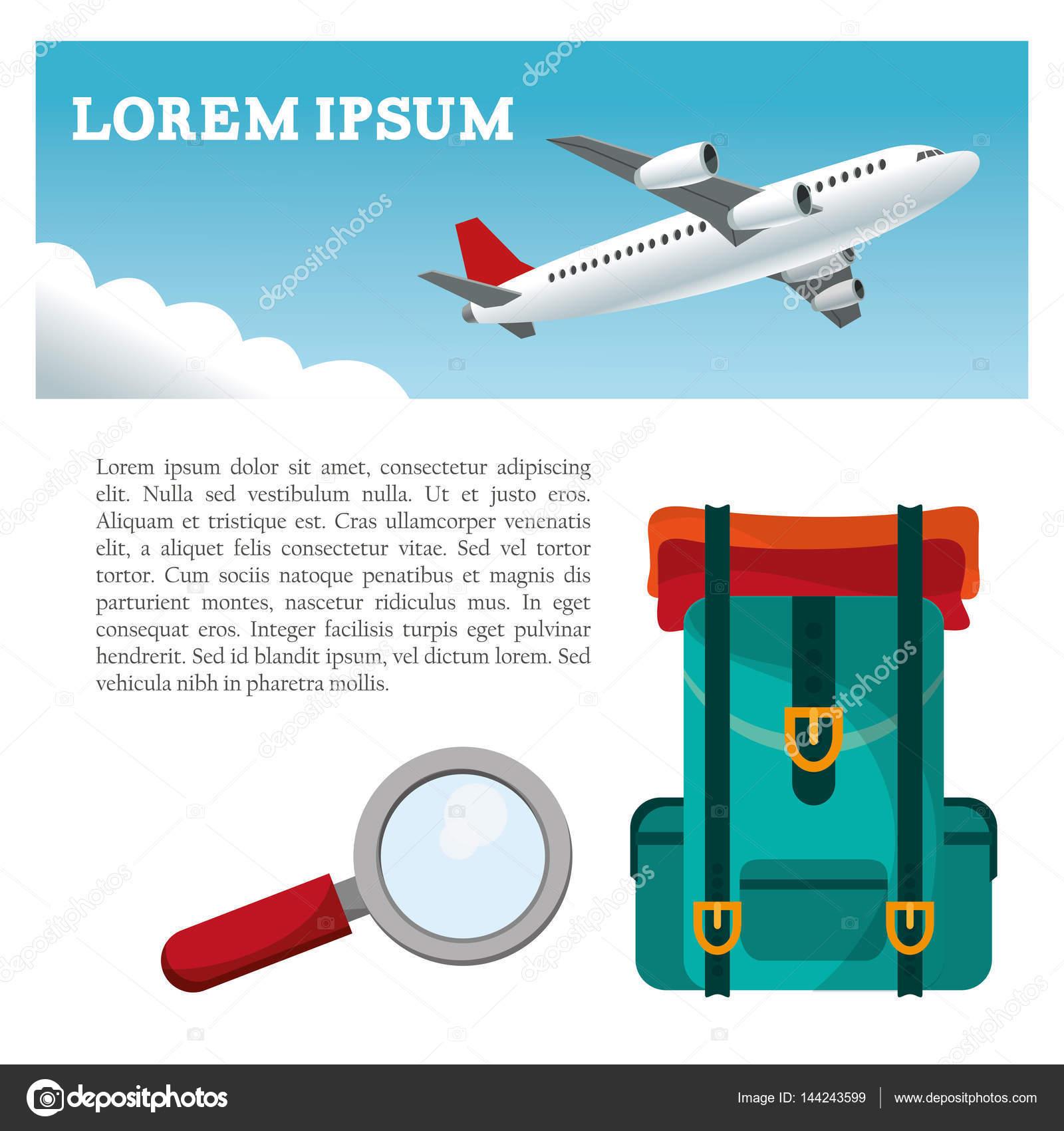 utazás repülőgép hátizsák keresés szórólap — Stock Vektor ... 8e67ec4339