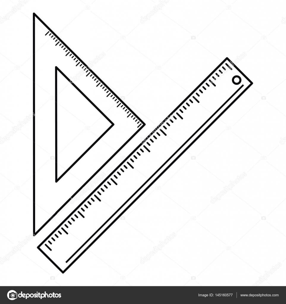 三角定規学校細い線を測定 ストックベクター Jemastock 145160577