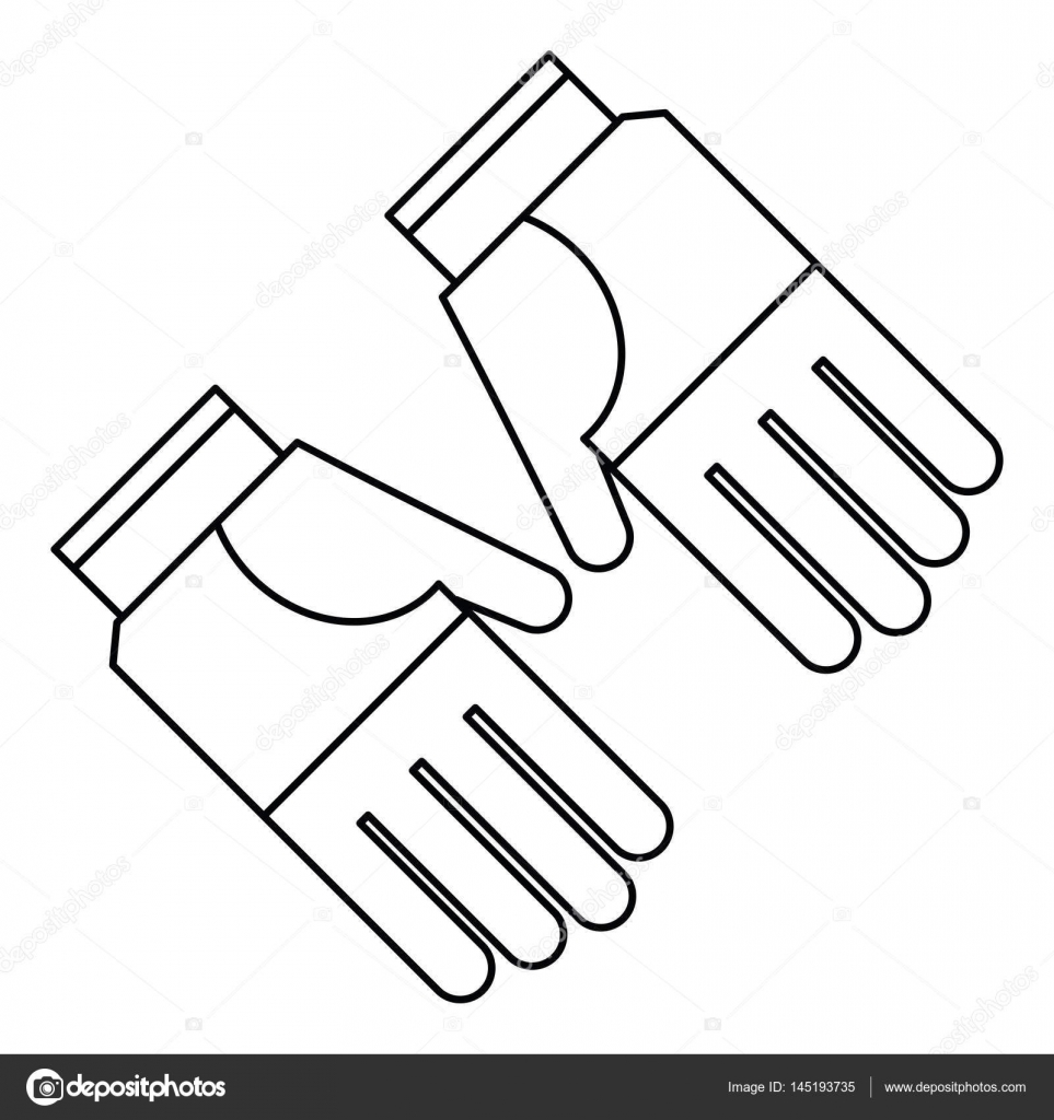 Gardening gloves protection thin line \u2014 Stock Vector