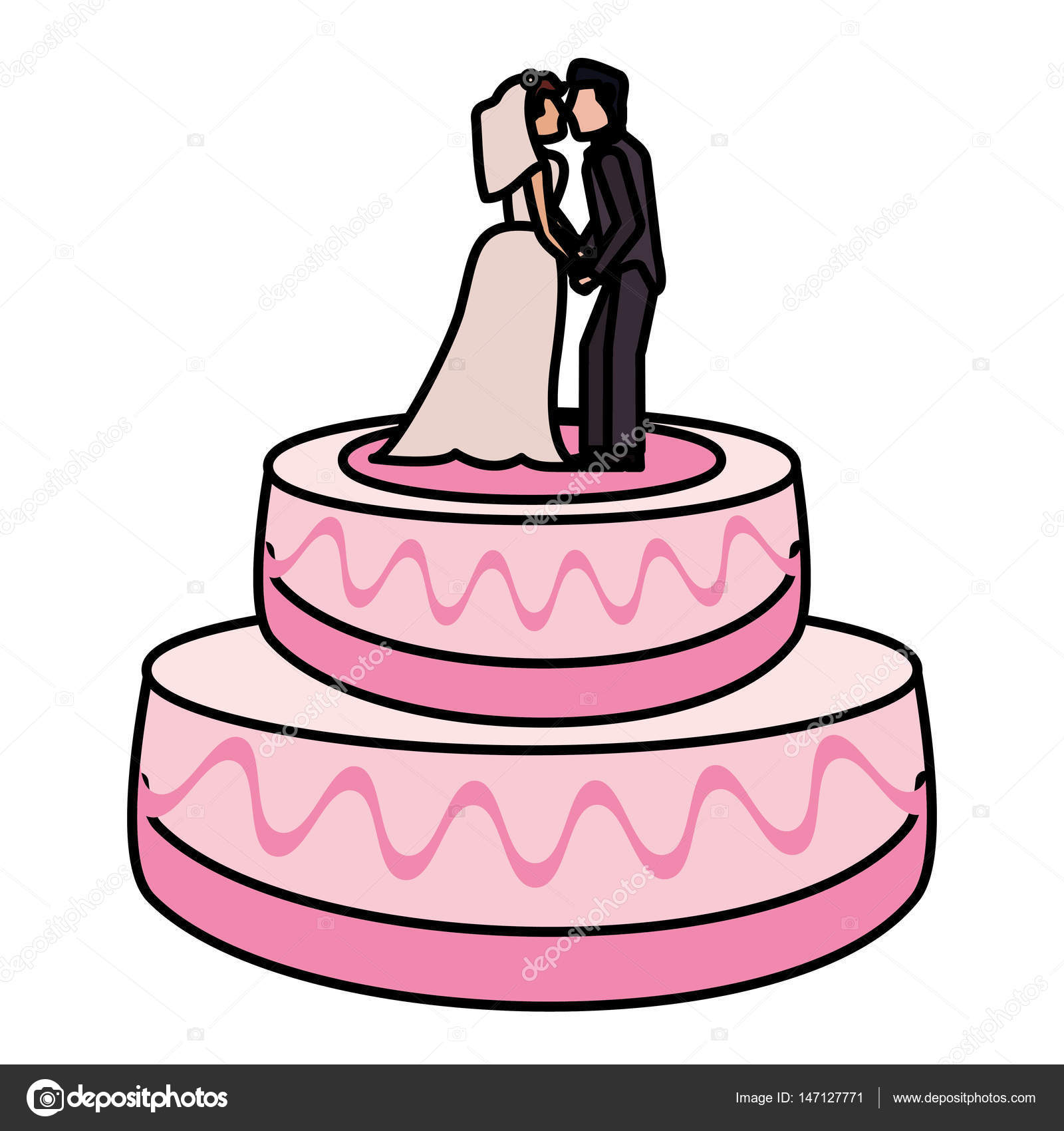 Wedding Cake Couple Dessert Stock Vector C Jemastock 147127771