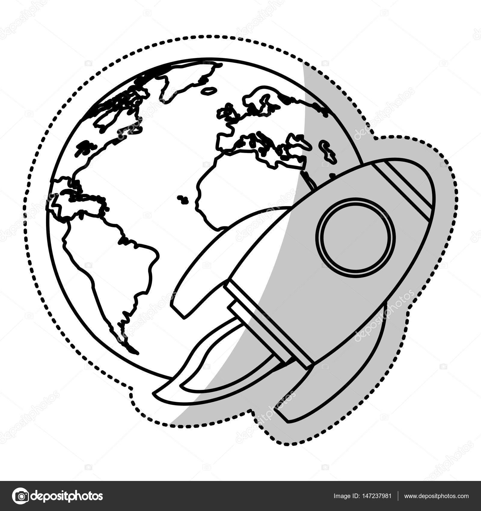 Erde Welt Rakete fliegen Raum Gliederung — Stockvektor © jemastock ...