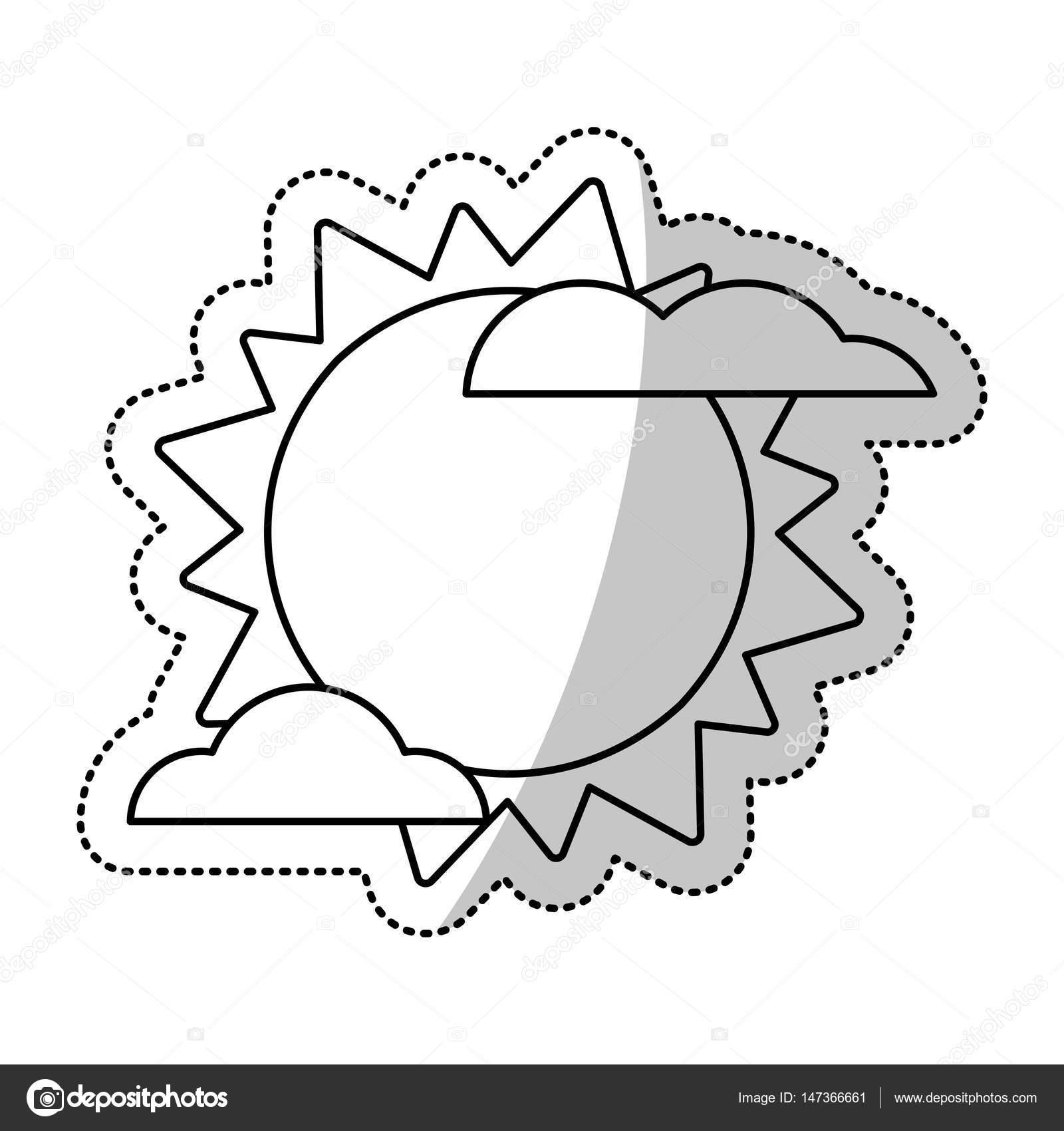 Słońce Chmura Weater Symbol Wytnij Wiersz Grafika