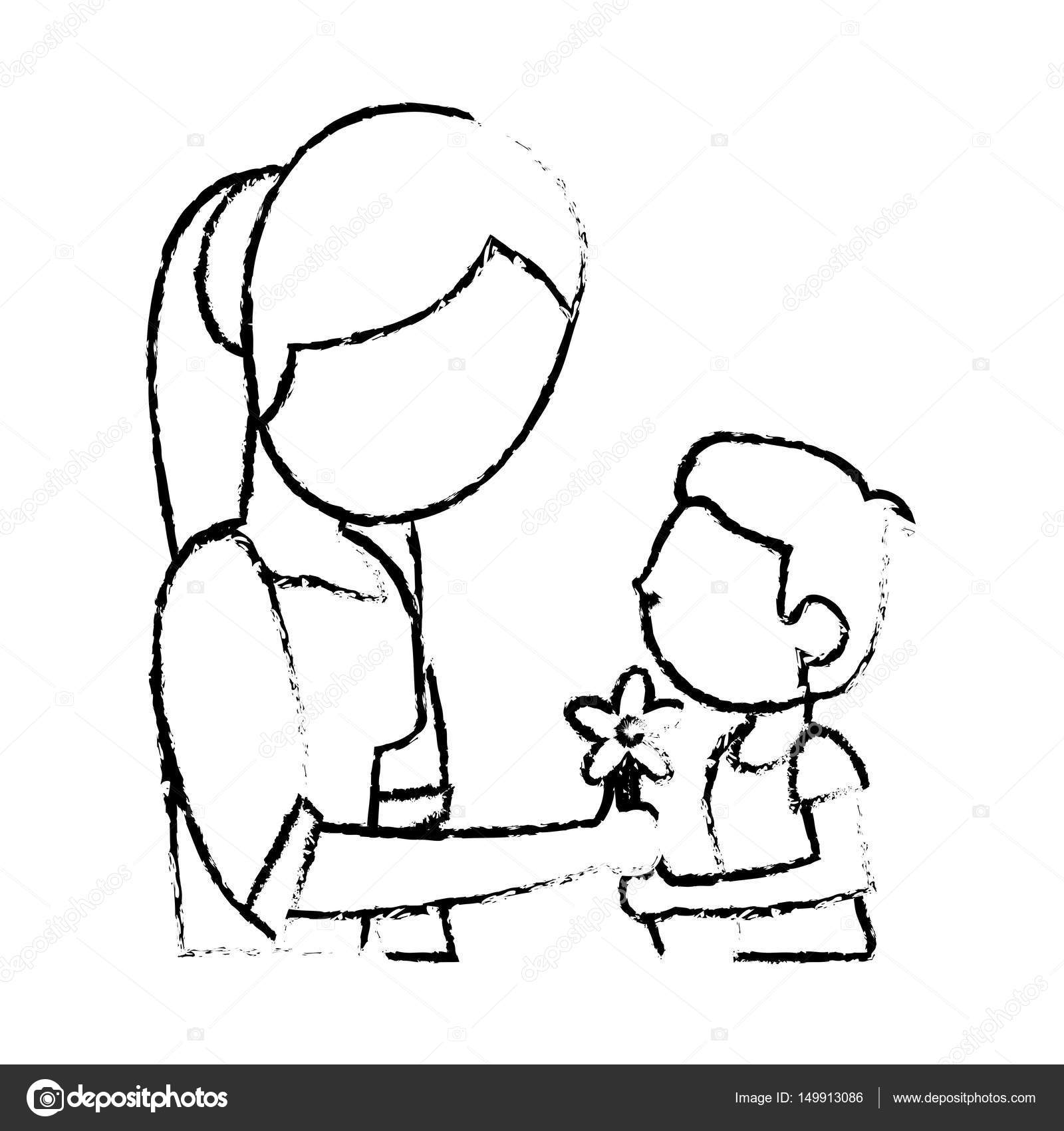 Sketch mother and son flower stock vector