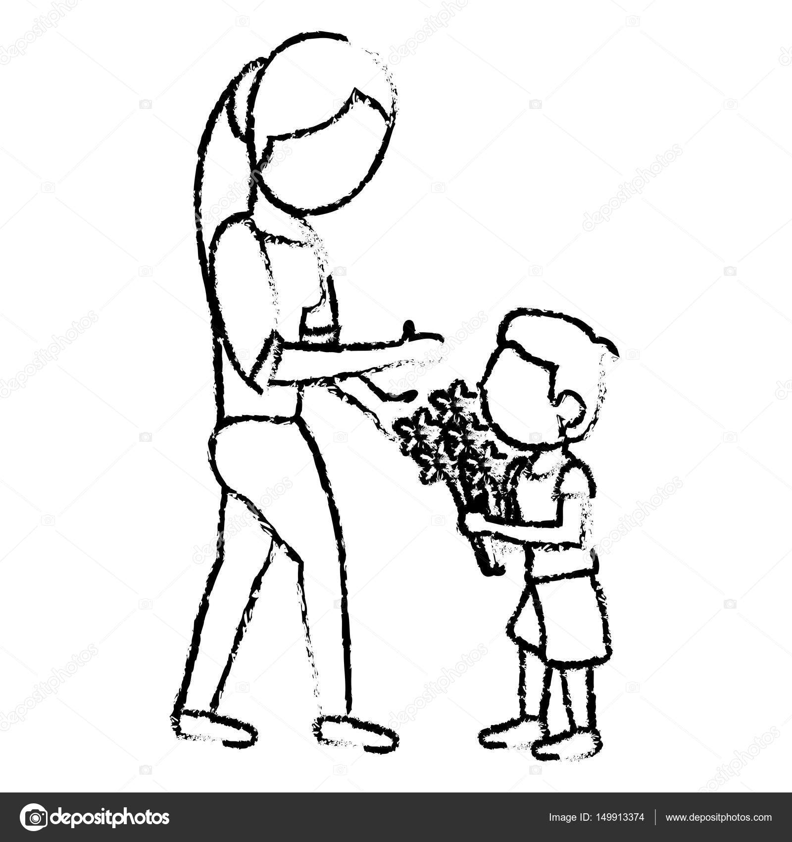 Sketch mother and son bouquet flowers stock vector