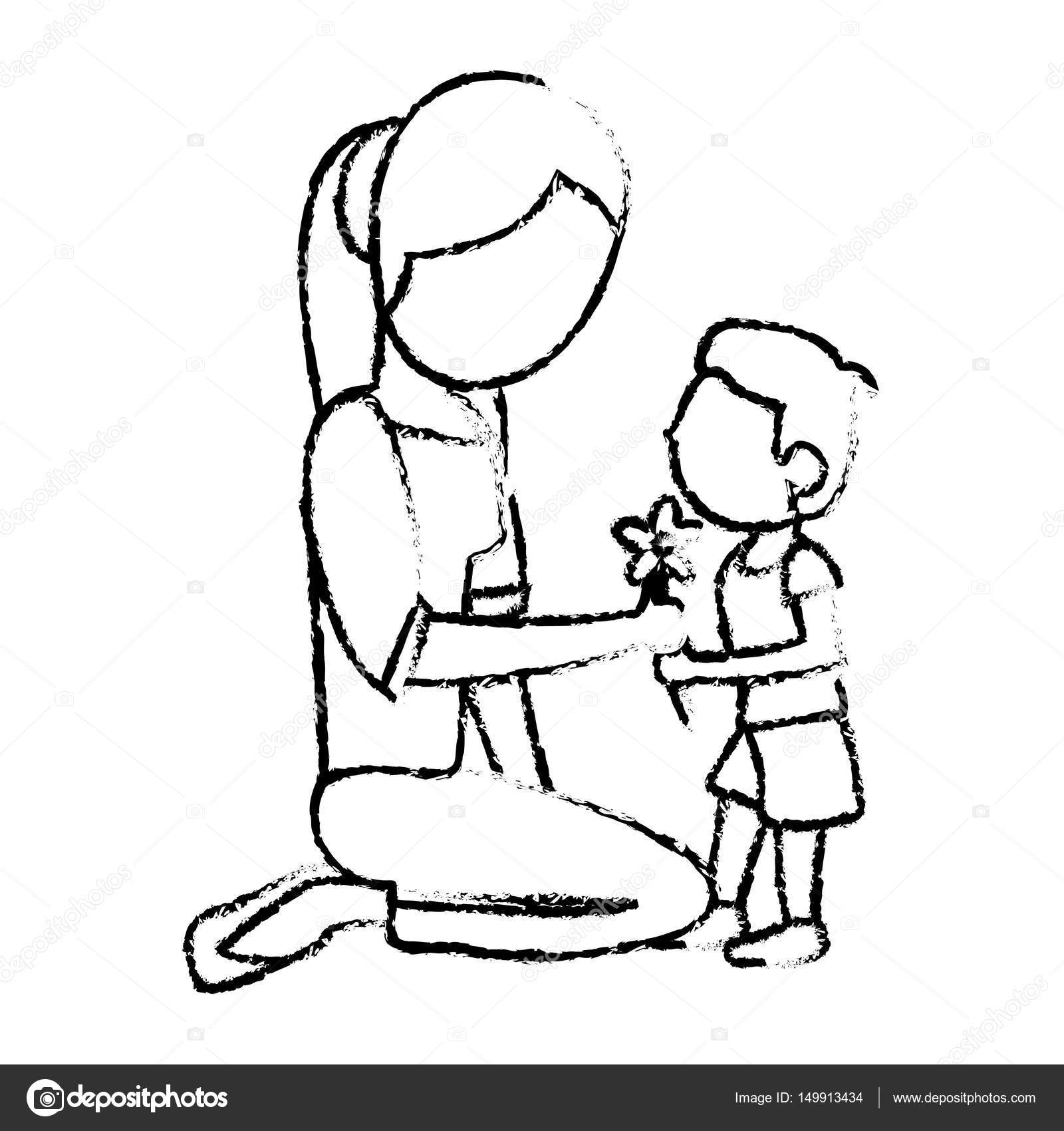 Sketch mother and son with flower stock vector