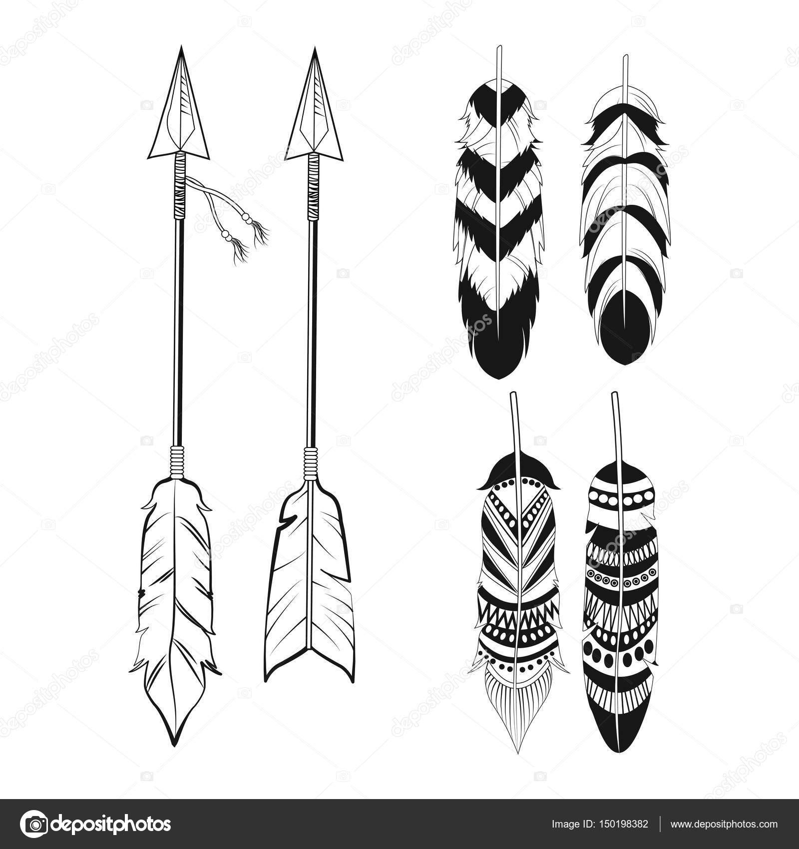 自由な精神の羽と矢の飾り ストックベクター Jemastock 150198382