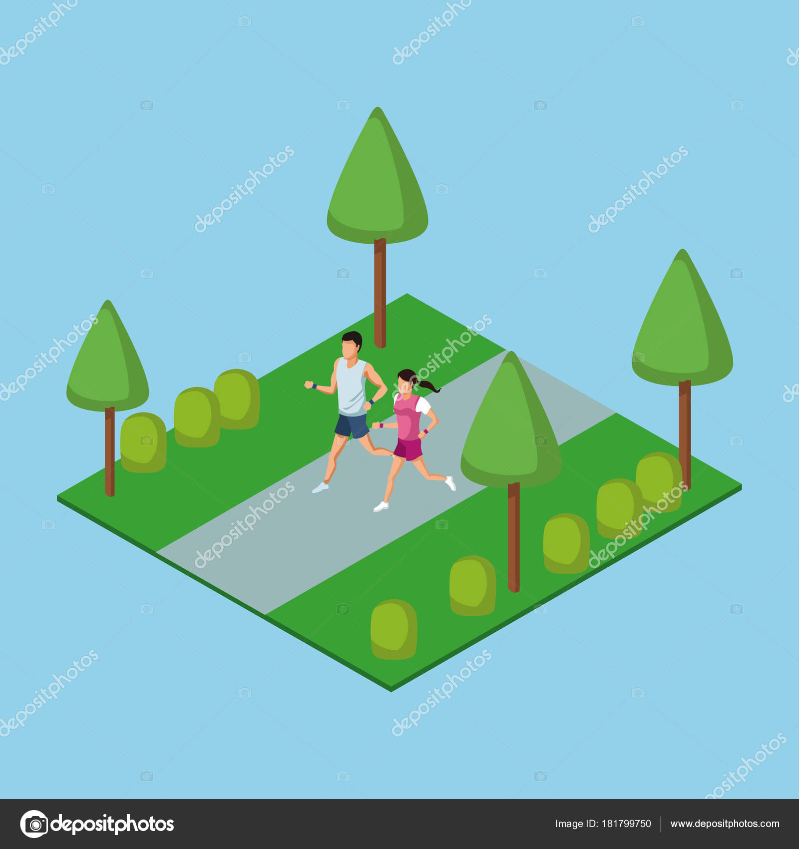 People running in park 3d — Stock Vector © jemastock #181799750