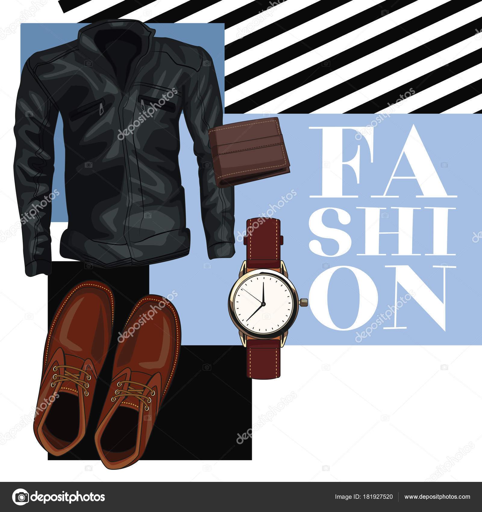 c1cc09b94 Accesorios y ropa de moda hombre — Archivo Imágenes Vectoriales ...