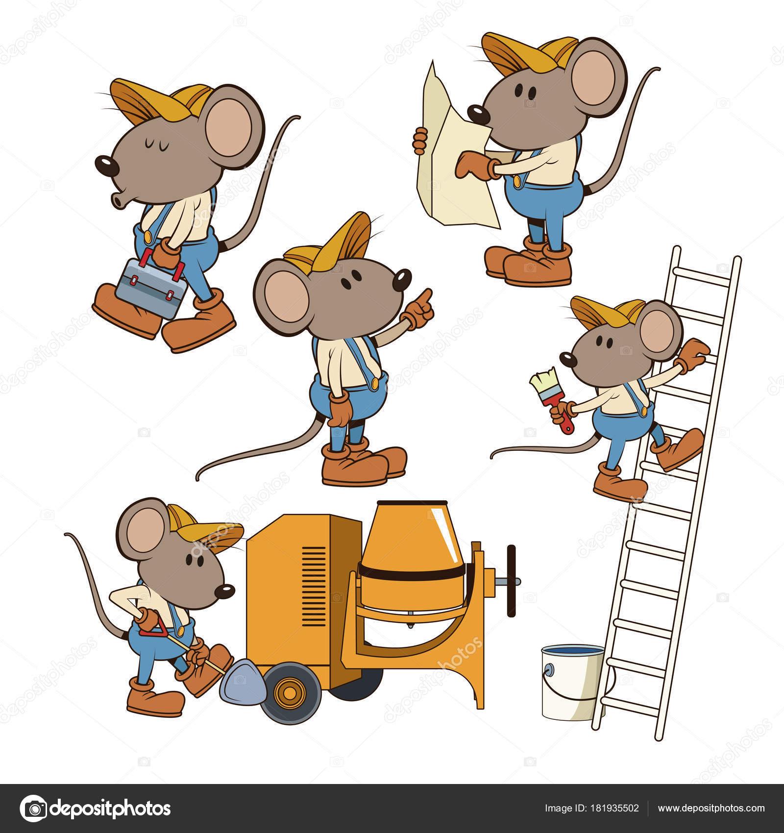 Bau Maus Arbeiter Lustige Cartoon Stockvektor C Jemastock 181935502