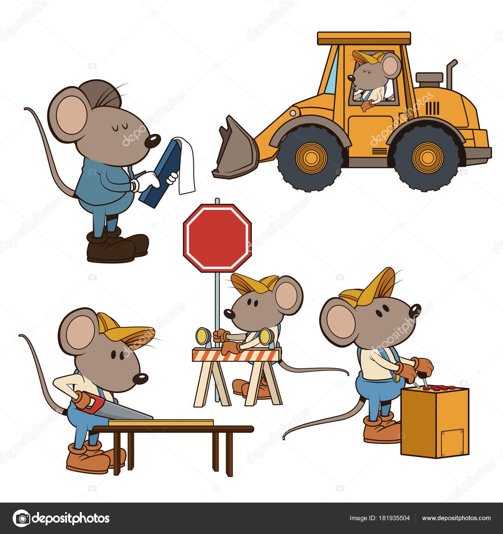 Bau Maus Arbeiter Lustige Cartoon Stockvektor C Jemastock 181935504