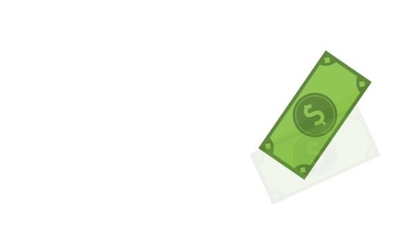 Money bills and coins on corner HD animation
