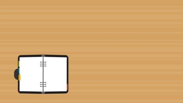Otevřené s pera a kávě animací Hd zápisník