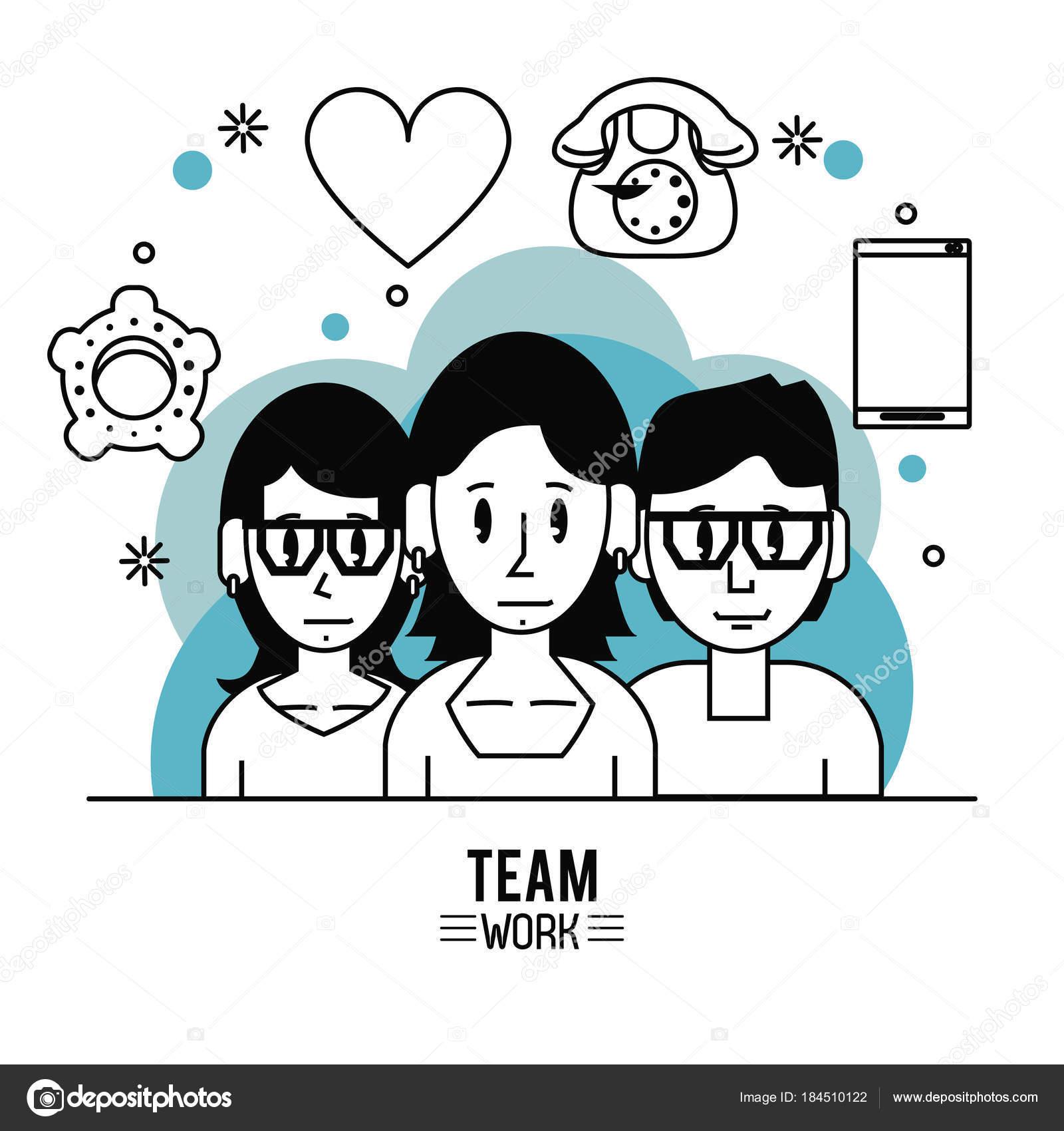 Historieta de joven trabajo en equipo — Vector de stock © jemastock ...