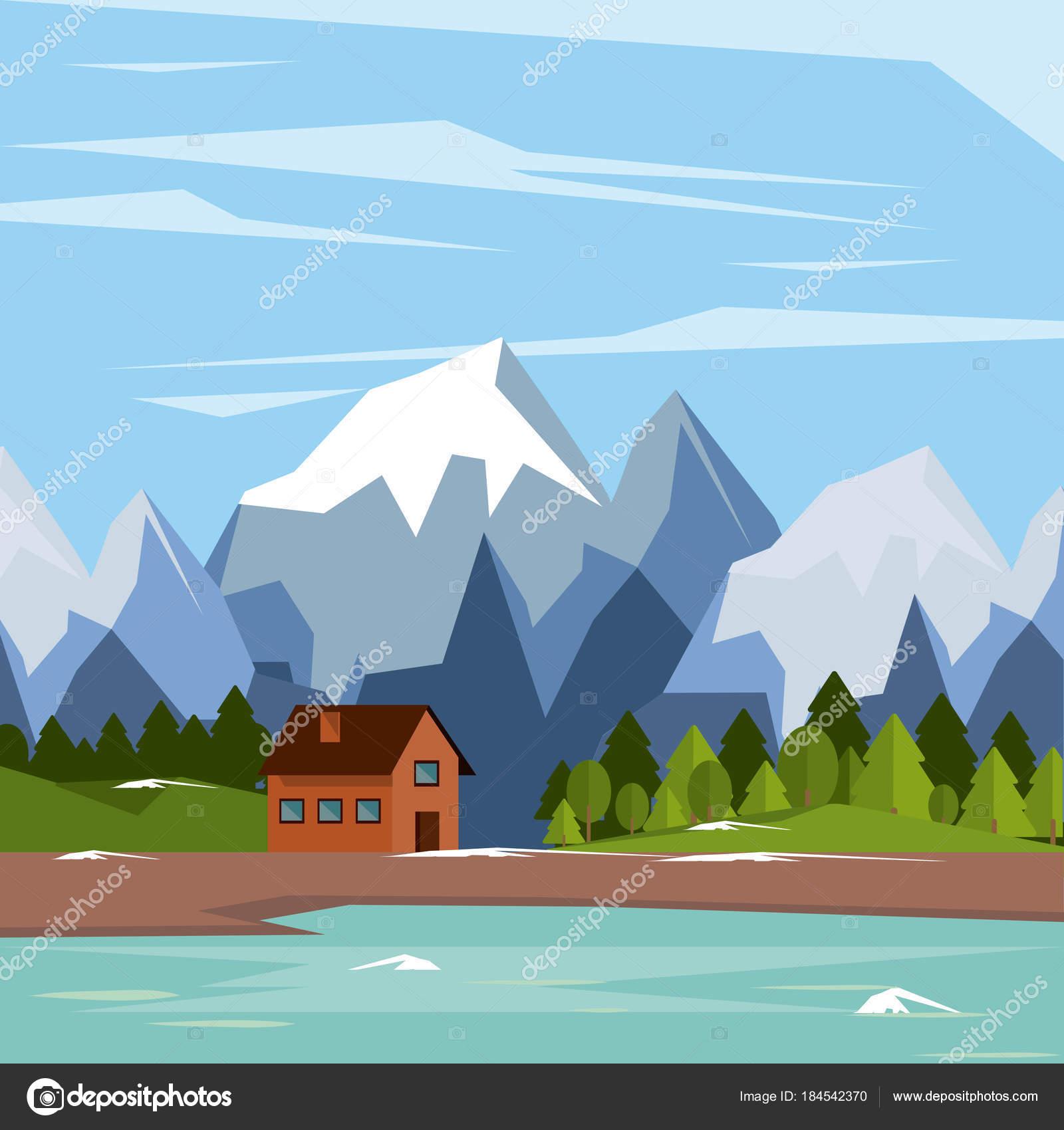 colores de fondo de paisaje natural con montañas de casa y lago y ...