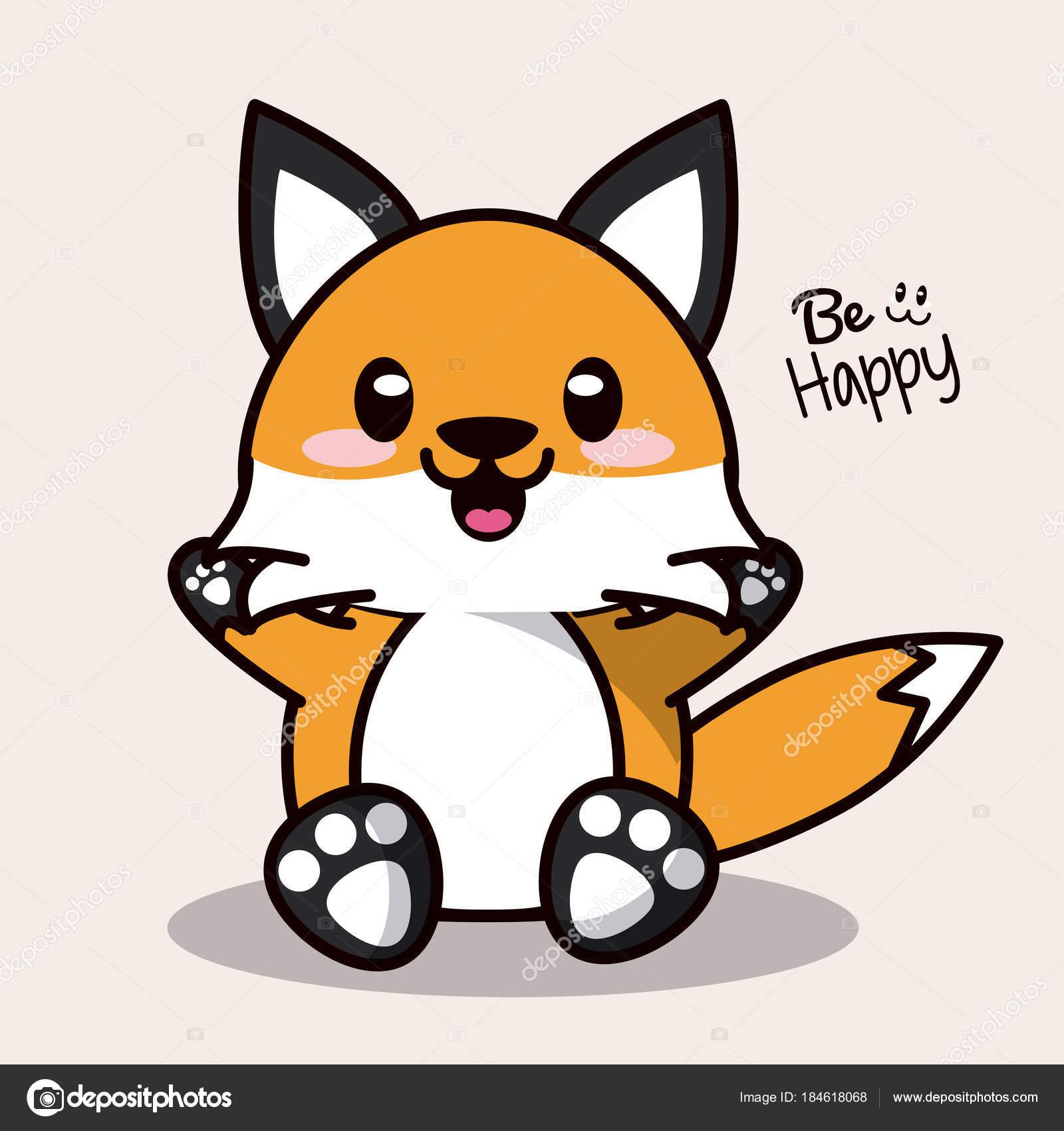 Couleur De Fond Avec Kawaii Cute Animal Renard Bonheur D Expression