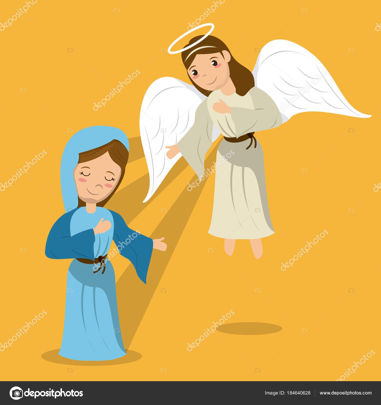 Animado Angel Gabriel Virgen Maria Con La Escena De La