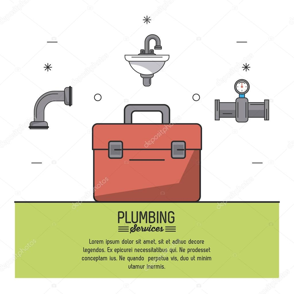 white background poster plumbing services with color toolbox in closeup and sink and tubing icons on top