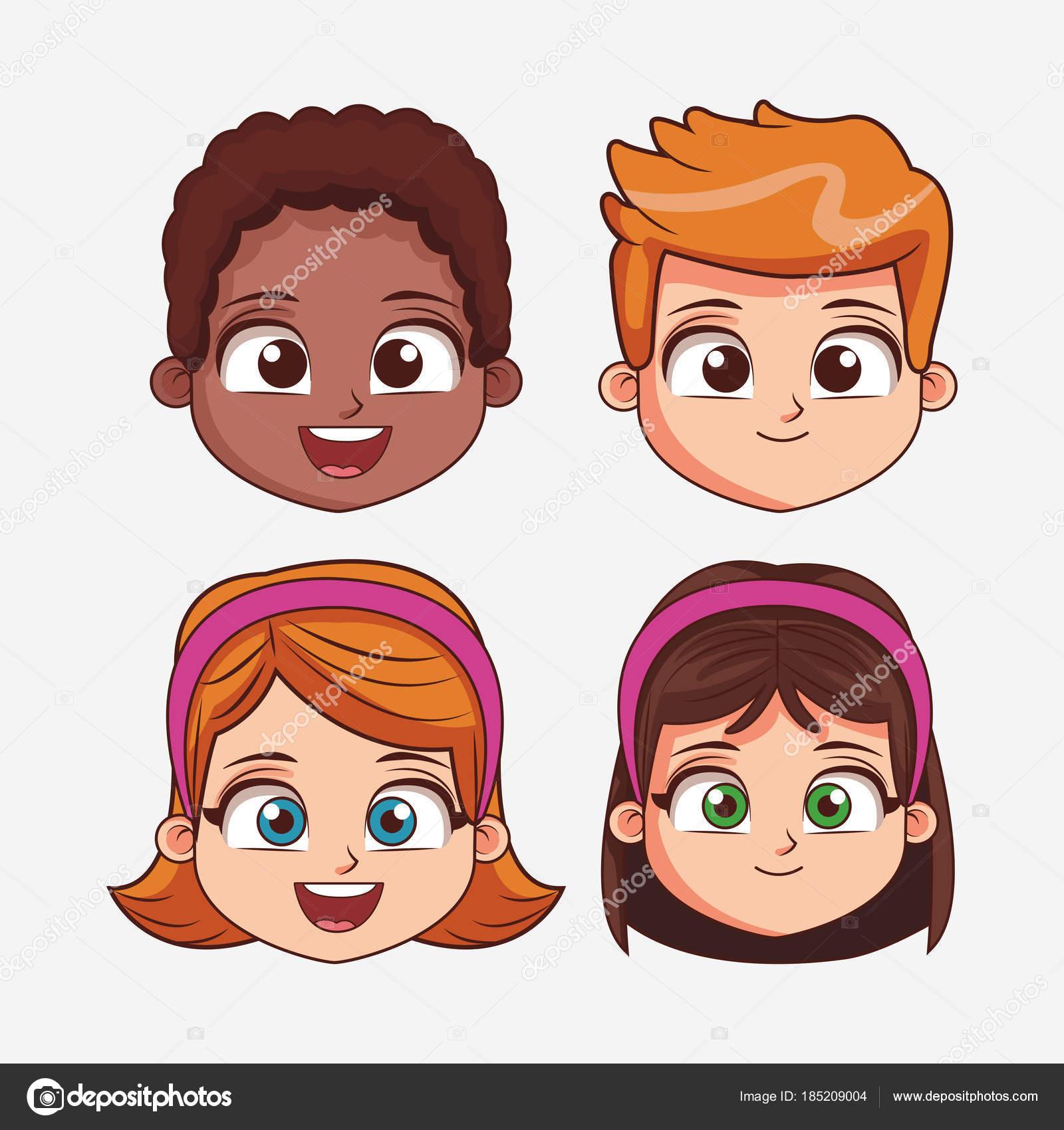 Cartone animato per bambini faccia — vettoriali stock