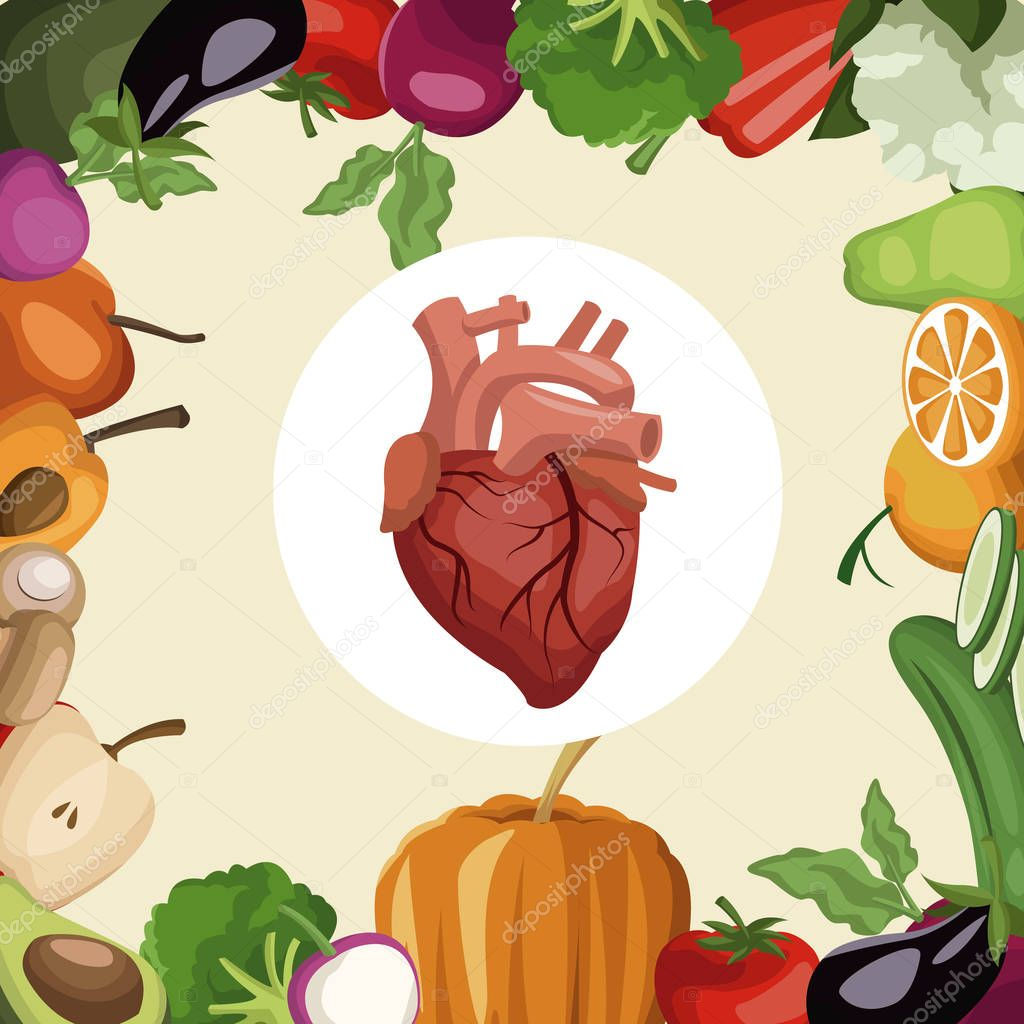 color background with frame vegetables and fruits healthy food to heart organ