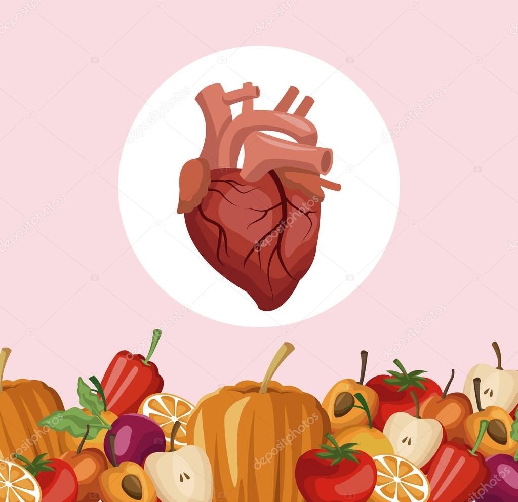 color background with border vegetables and fruits healthy food to heart organ
