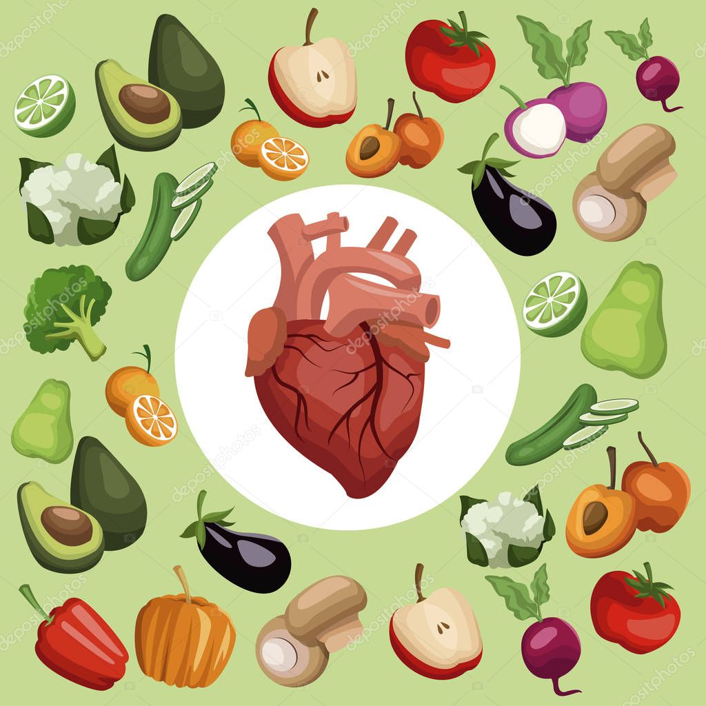 color background with pattern vegetables and fruits healthy food set with circular frame heart organ in center