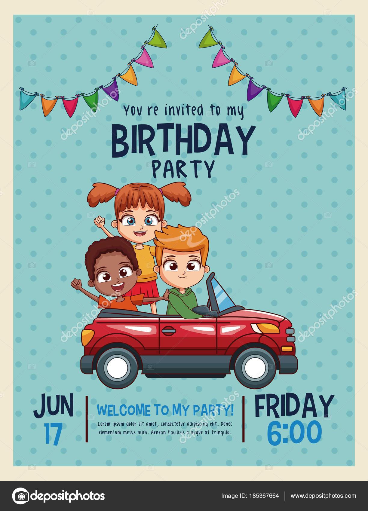 Tarjeta De Invitación De Cumpleaños De Niños Vector De