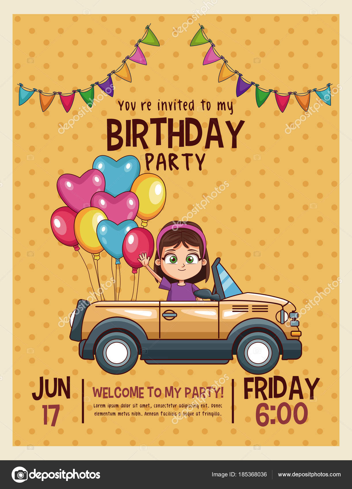 Kids birthday invitation card stock vector jemastock 185368036 kids birthday invitation card vector illustration graphic design vector by jemastock stopboris Choice Image