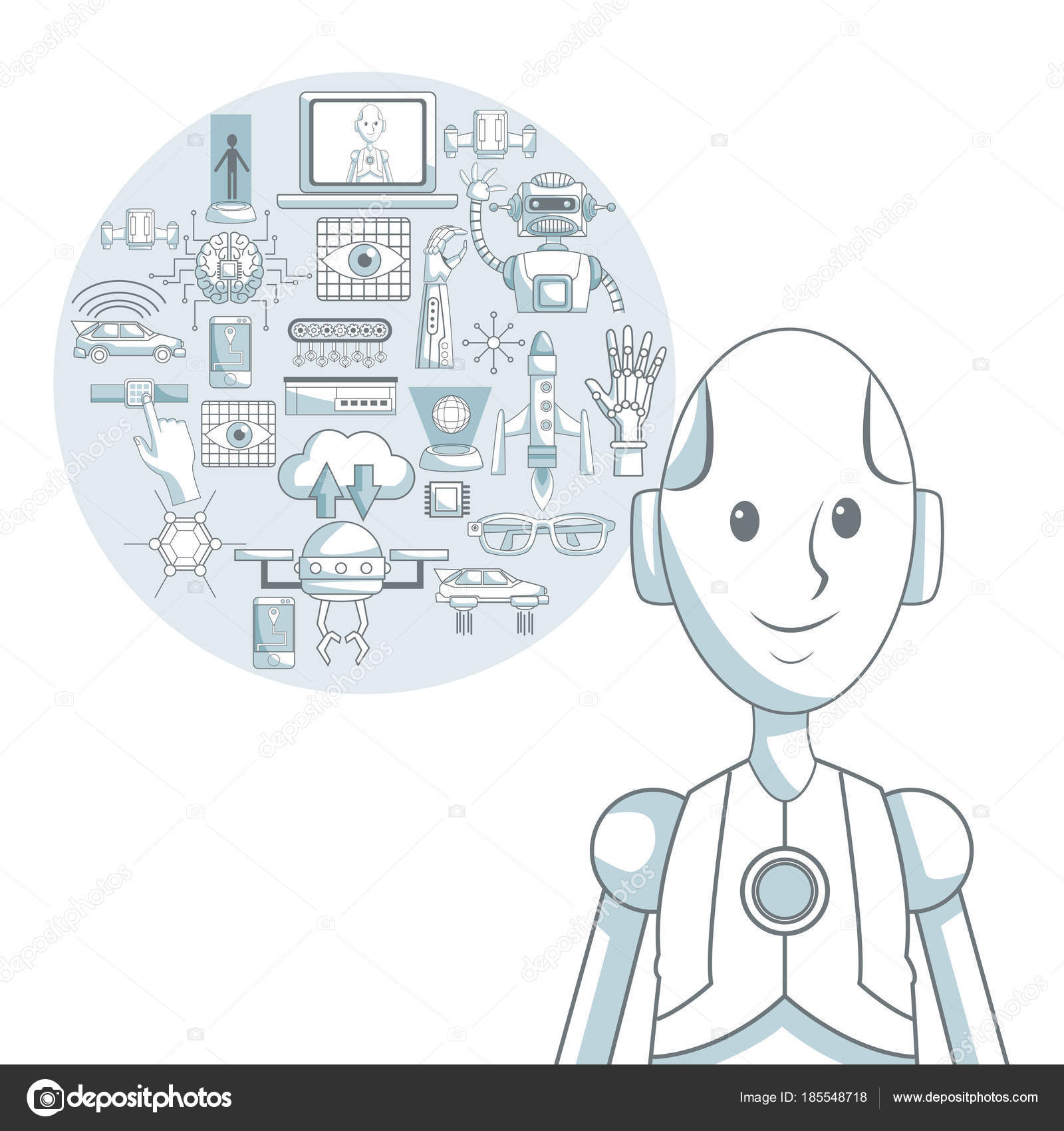 fondo blanco con silueta color secciones sombreado closeup robot y ...