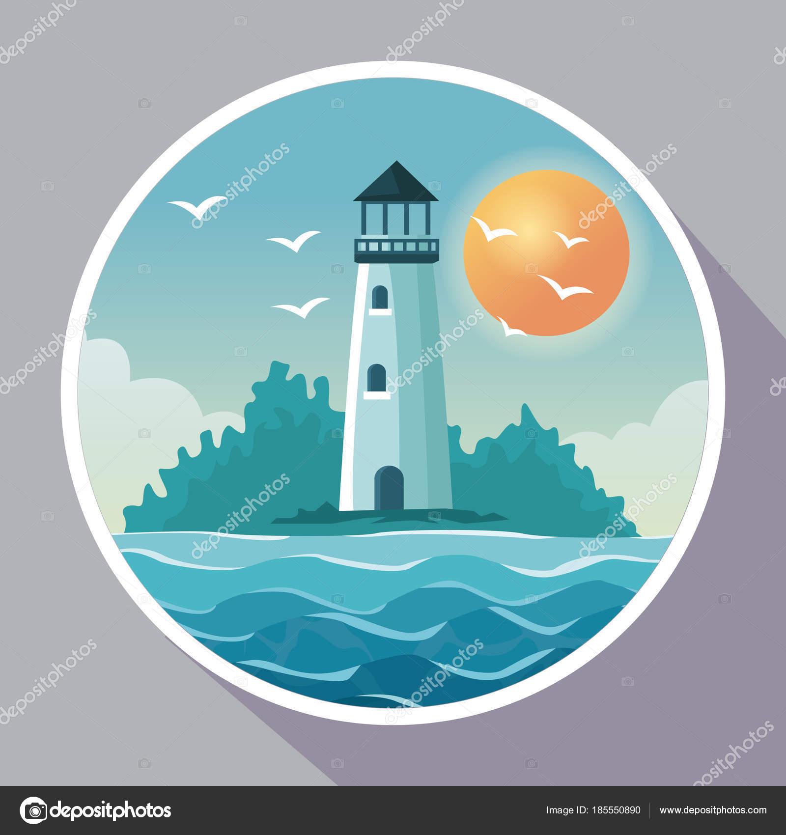 bunte Poster mit kreisförmigen Rahmen der Küste mit Leuchtturm Küste ...