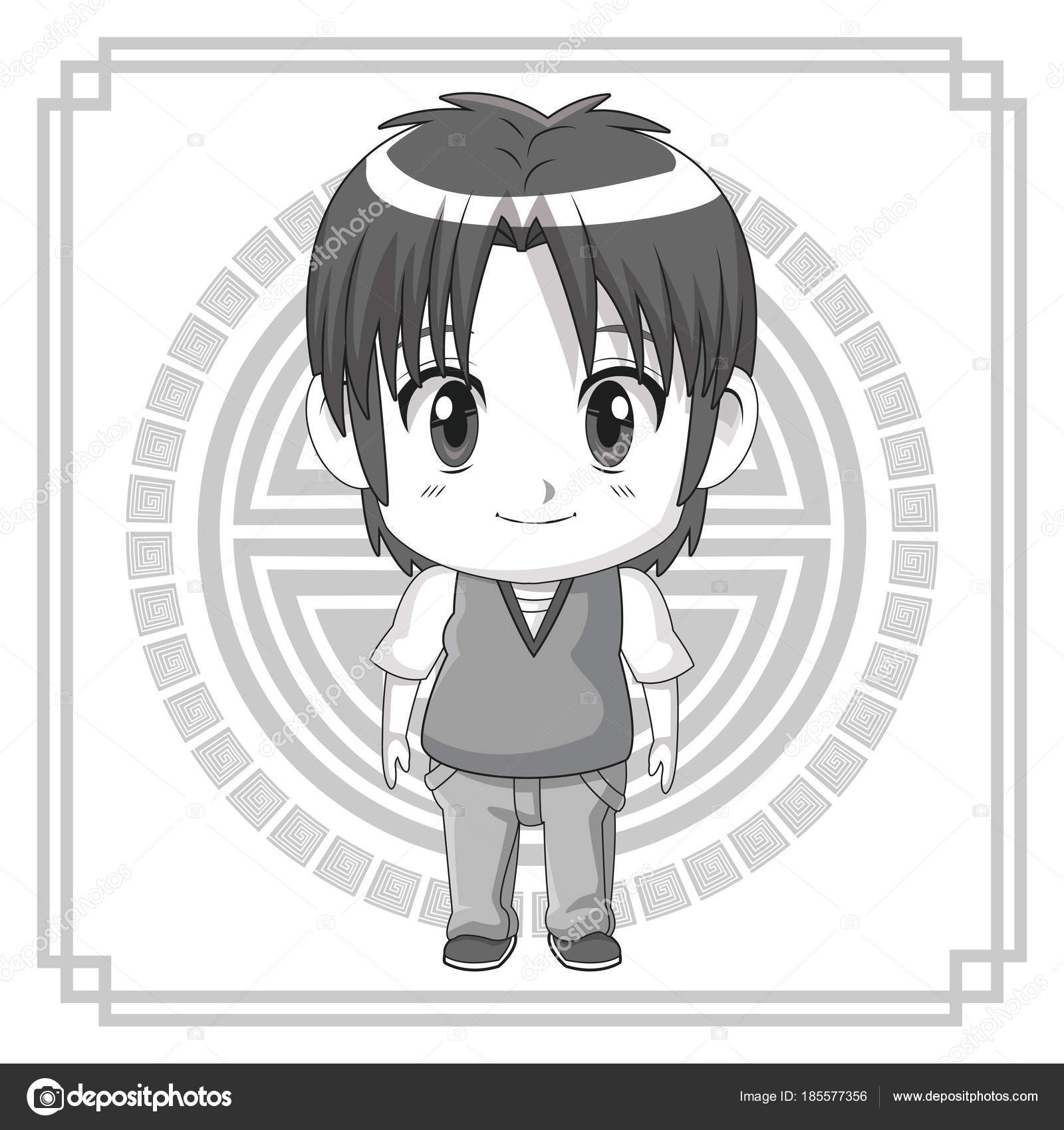 Monochrome Background Japanese Symbol With Silhouette Cute Anime