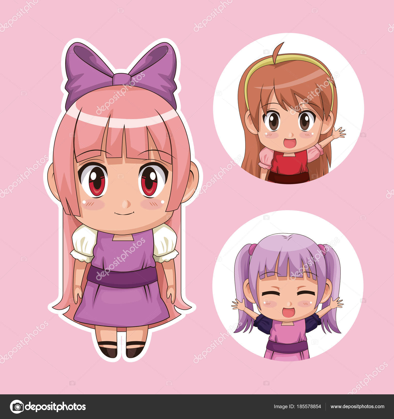 color set lindo anime tennagers chica en vestido con varias ...