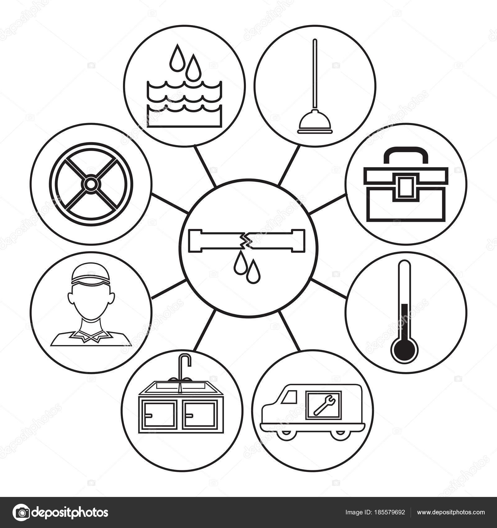 Los iconos contorno dibujo de plomería conexión centro marco ...