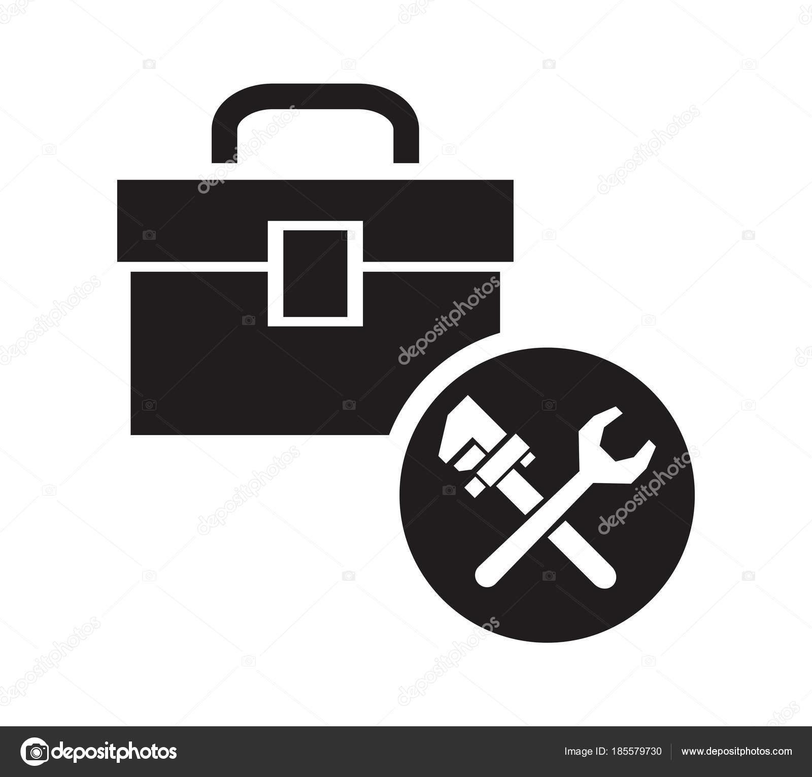 silueta negra kit de plomería con una llave de icono circular marco ...