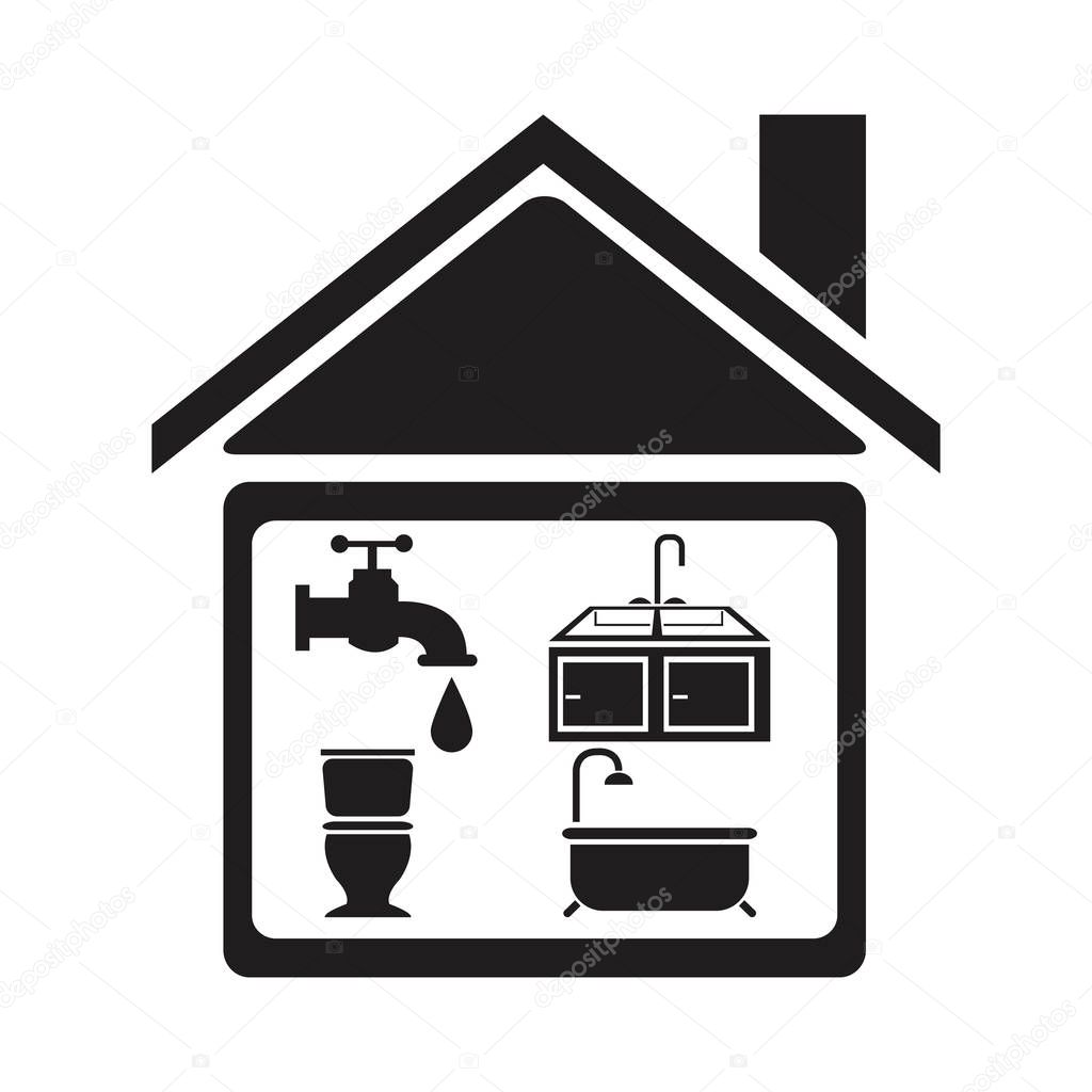 black silhouette house with elements bathroom for plumbing