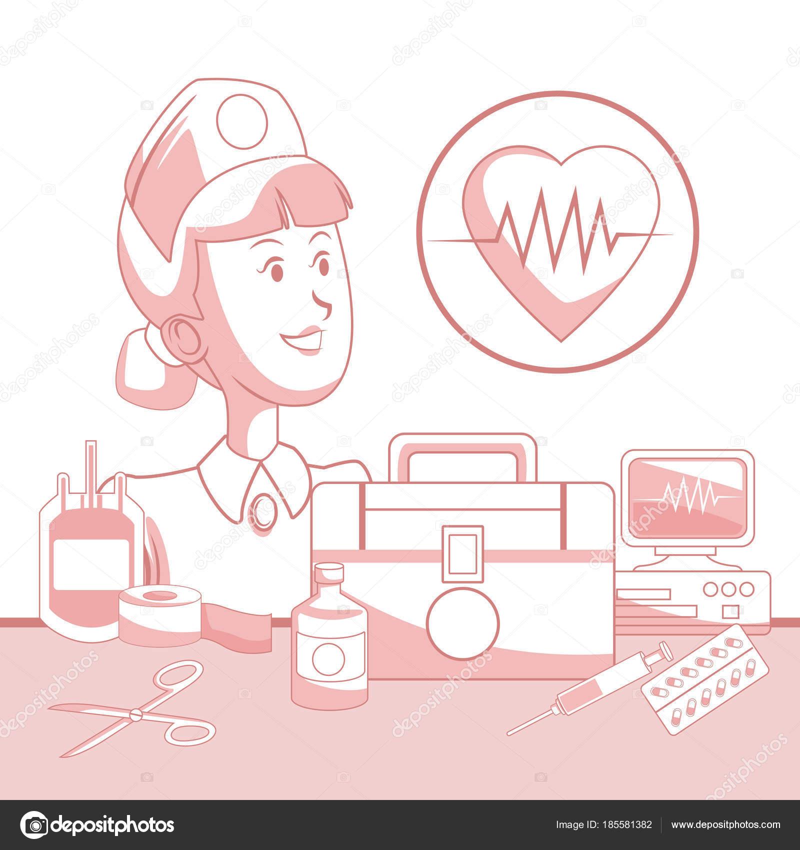fondo blanco con secciones de color rojo de silueta enfermera ...