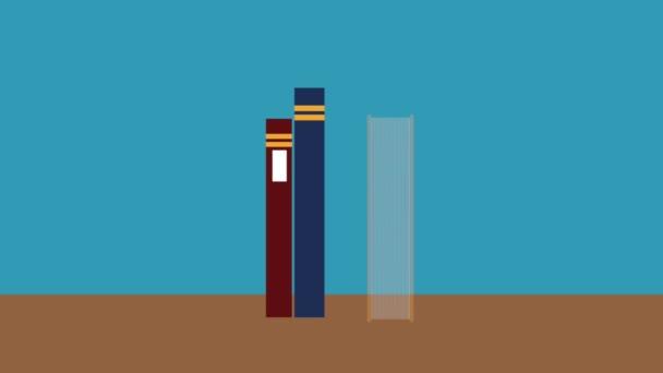 Books on desk HD animation