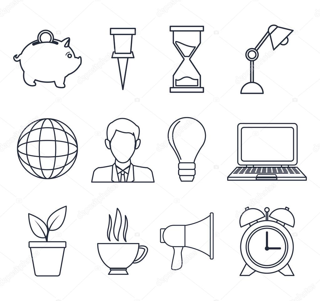 white background with silhouette set icons growth economy and diffusion advertising