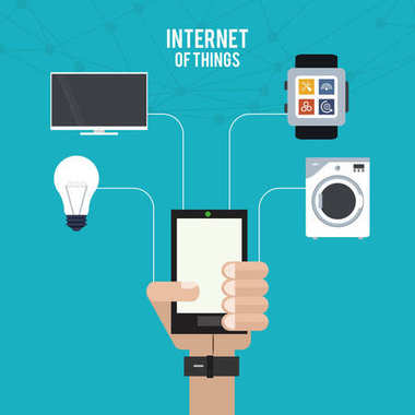 internet of things hand with smartphone work home tv bulb innovation
