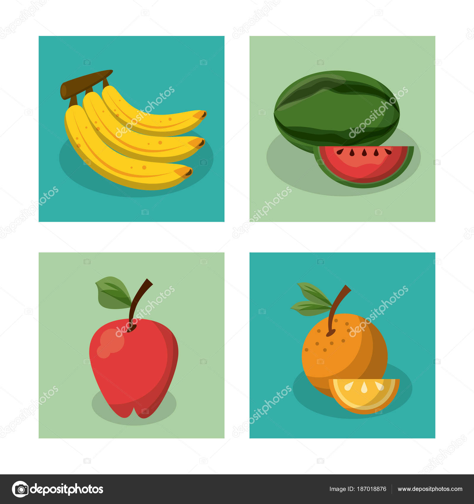 white background with frames of picnic elements with fruits banana ...