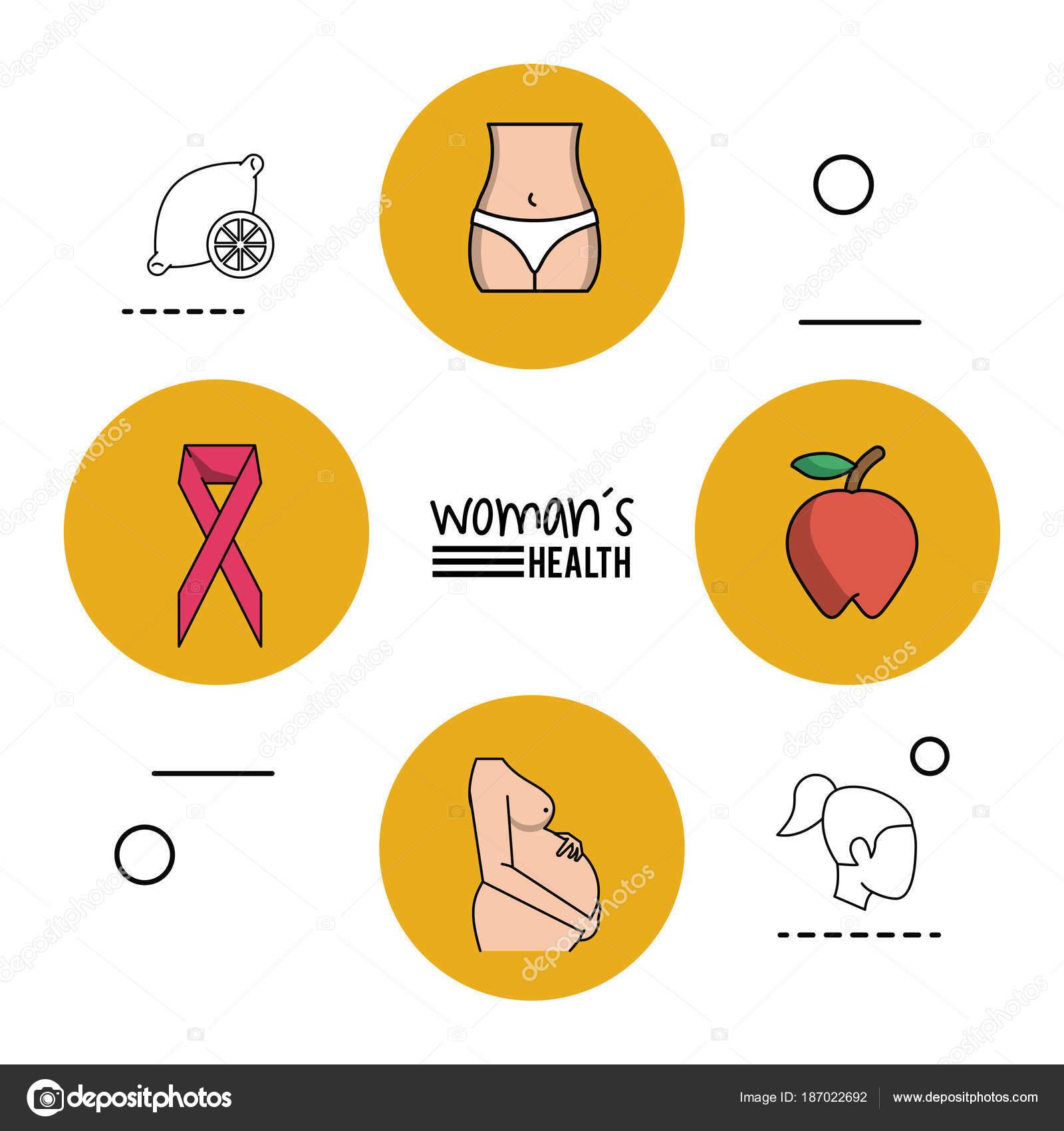 salud de la mujer de infografía fondo blanco con amarillo circular ...