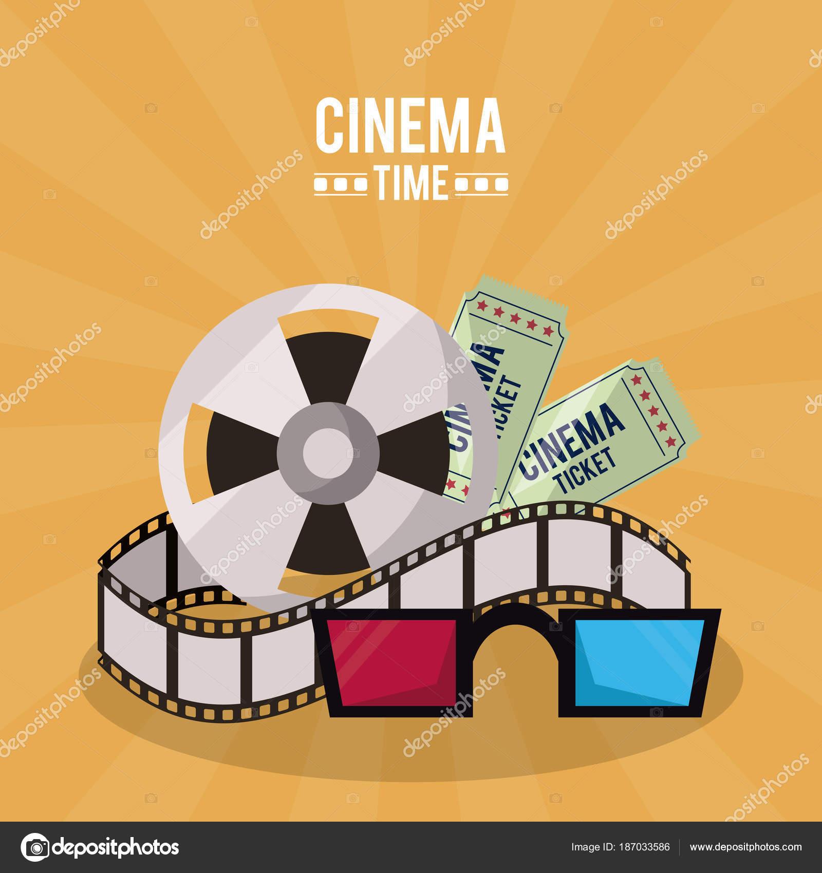 la migliore vendita l'atteggiamento migliore vendibile Poster colorato di tempo del cinema con bobina di pellicola ...