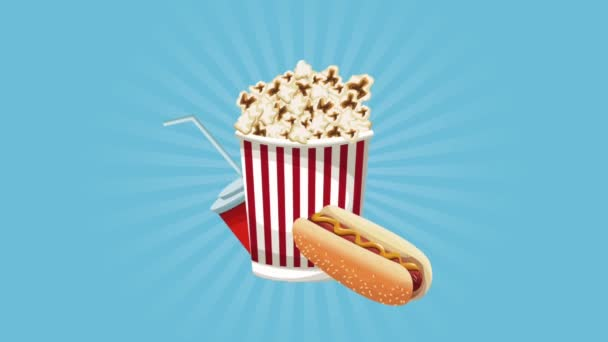 Popcorn se sodou a hot dog