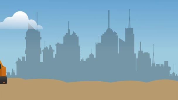 Zementlaster fährt an Stadt vorbei