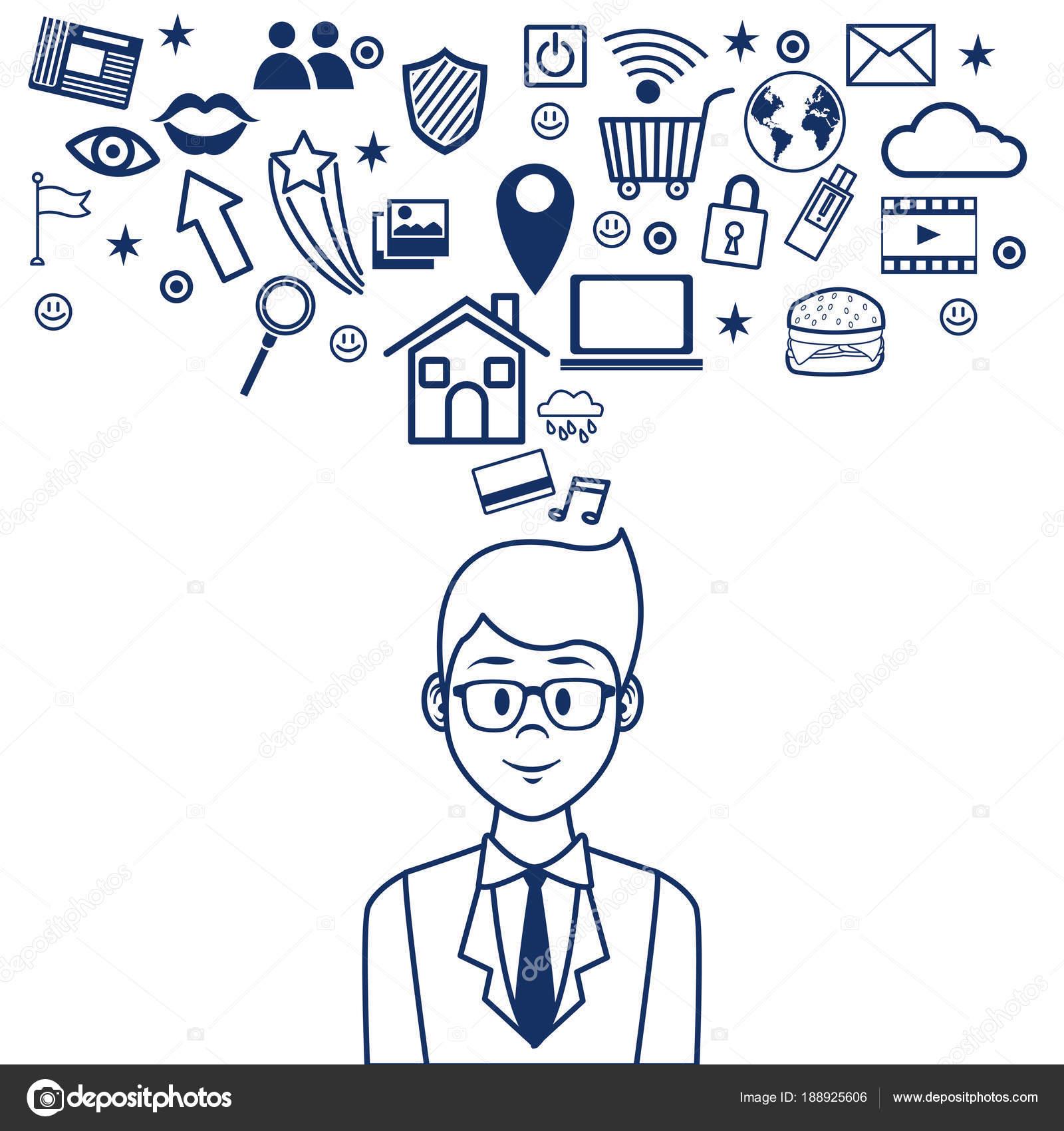 Menschen und social-Media-cartoon — Stockvektor © jemastock #188925606
