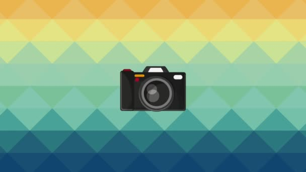 Vintage camera over colorful background HD definition