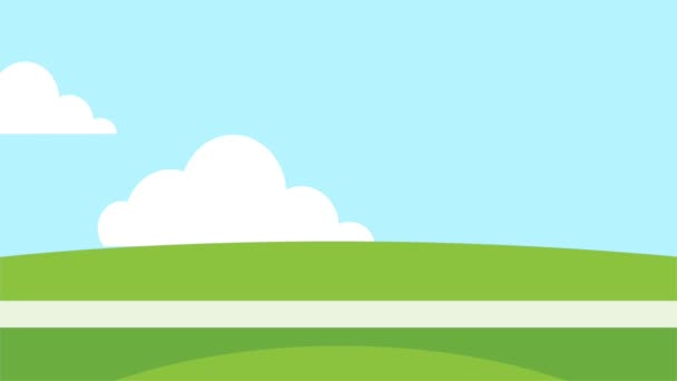 camp with trees field animation